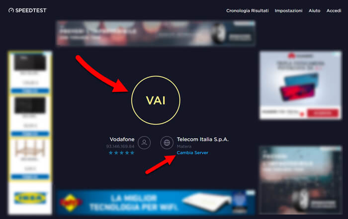 test connessione internet