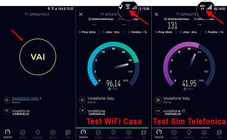 test connessione mobile