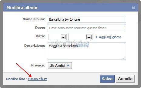 Eliminare album facebook foto