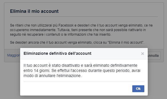 Eliminazione definitiva dell account
