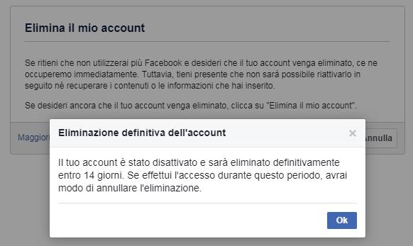 Eliminazione definitiva dell account