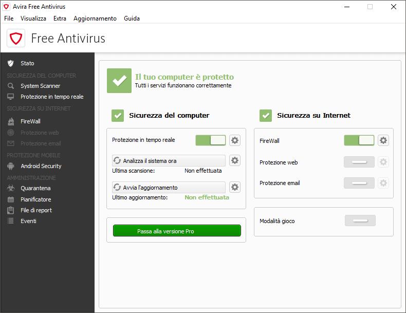 antivirus gratis windows 10 leggero