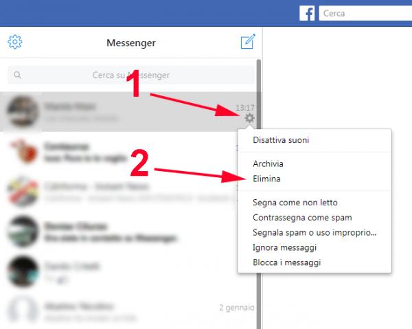 come cancellare messaggi su Facebook