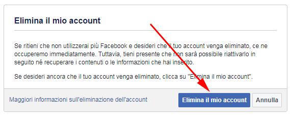 elimina il mio account