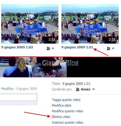 eliminare video facebook