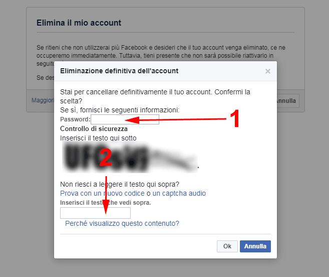 inserisci password facebook e codice captcha