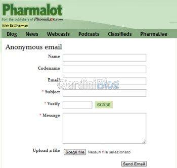 inviare email anonime pharmalot