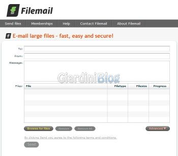 spedire email anonime filemail