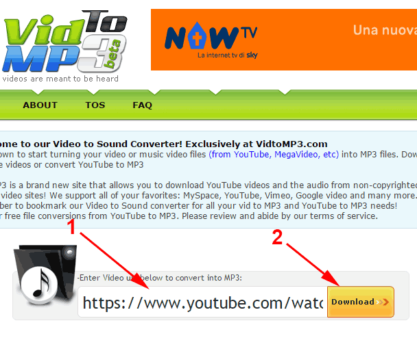 scaricare e convertire in mp3 da youtube
