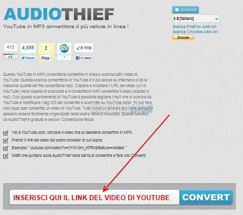 come scaricare musica da youtube con audiothief