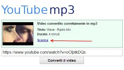salvare musica da youtube