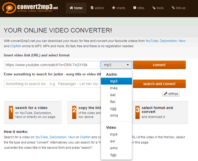 convert2mp3 convertitore da youtube a mp3 flac ogg aac mp3