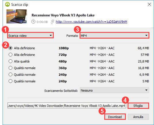 scaricare video youtube tramite 4k video downloader