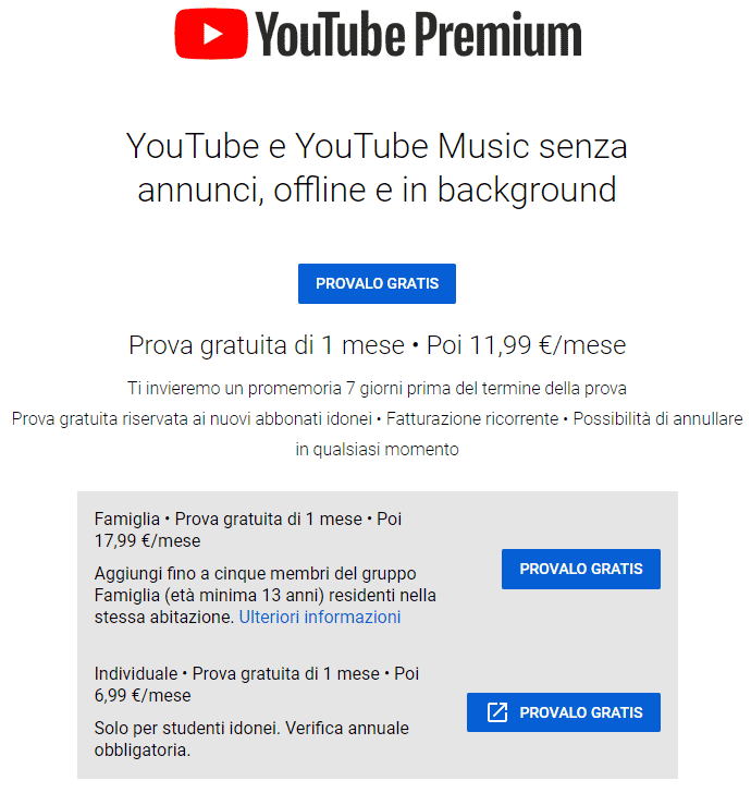 youtube premium costi