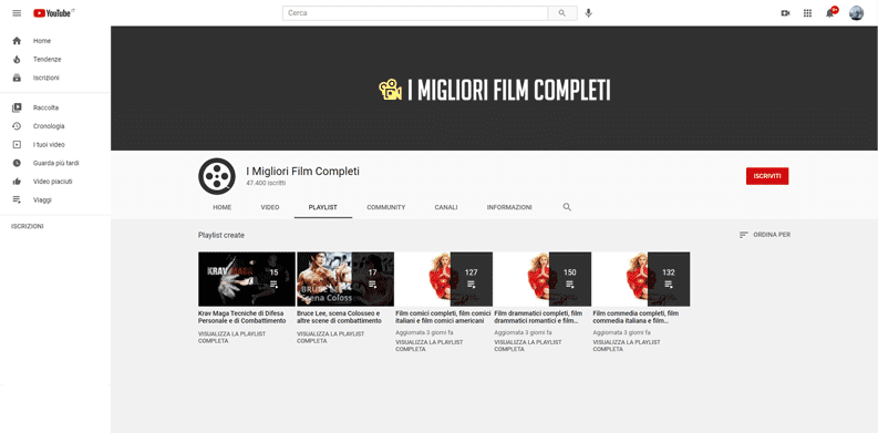 film streaming senza registrazione youtube