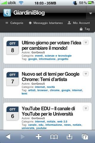 GiardiniBlog ora in versione mobile per Cellulari, Wii e PSP
