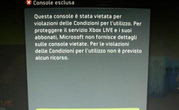 Xbox 360 : Nuovo Ban Wave - console vietata su Xbox Live [AGGIORNATO]