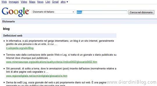 dizionario italiano ricerca