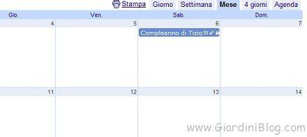 google calendar vista mese