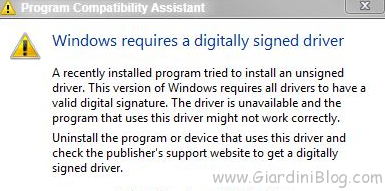 Windows 7 Digital Driver Signature