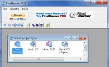 FinalBurner Free programma in italiano per masterizzare cd, dvd, bluray