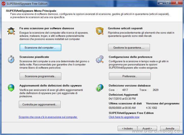 rimuovere eliminare spyware