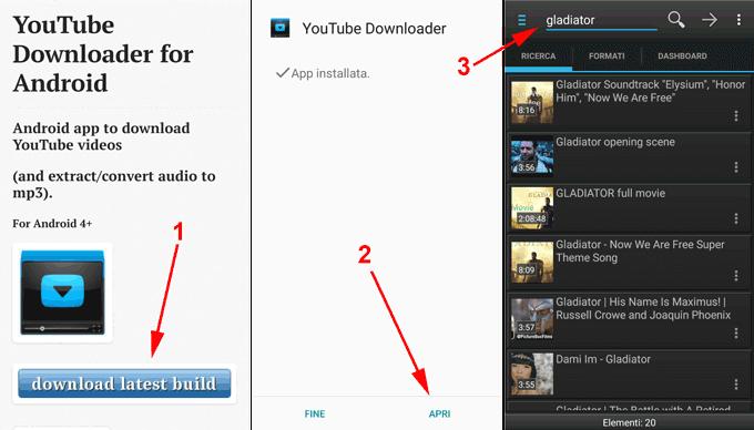 app android per scaricare musica da youtube