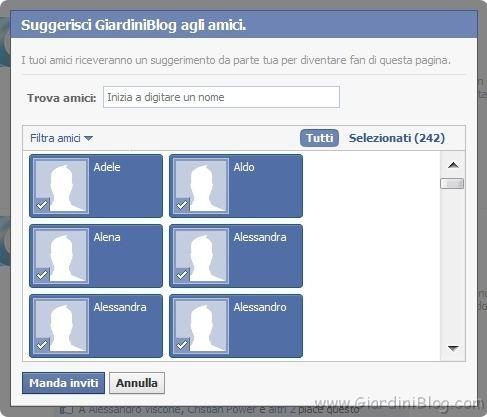 suggerisci agli amici facebook selezionati