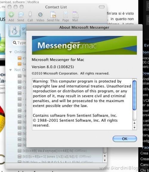 Microsoft Messenger 8 Mac