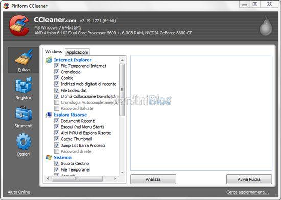 CCleaner schermata