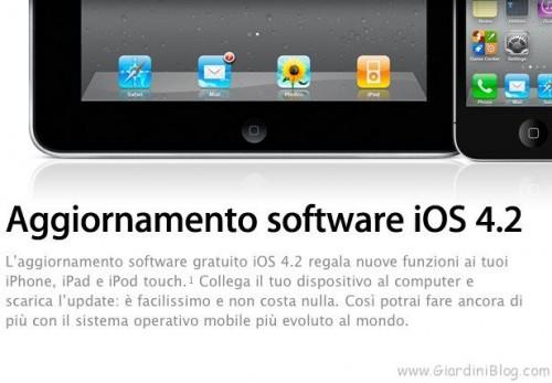 Apple - Aggiornamento software iOS 4.2