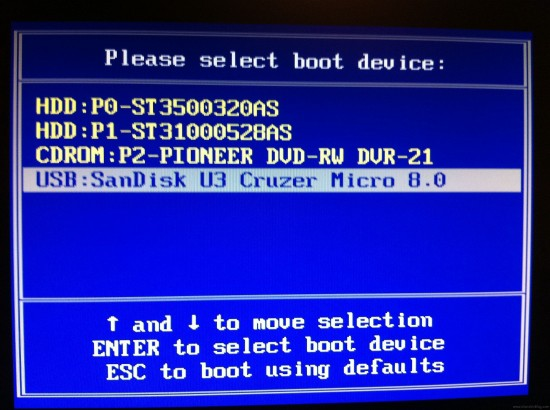 bios boot usb device