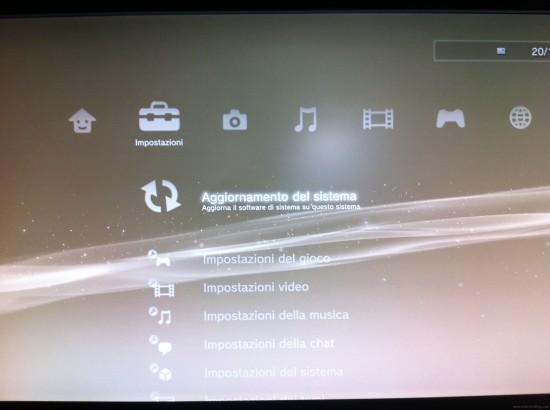 aggiornamento di sistema ps3