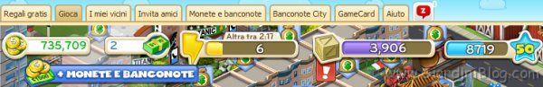 CityVille barra menu