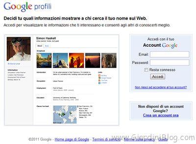 profilo google accesso