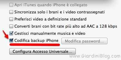 codifica backup iphone