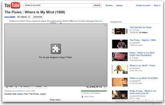 flash plugin su youtube