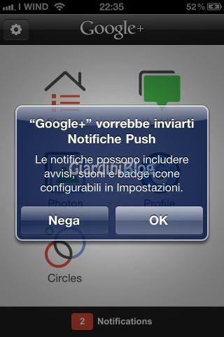 Google plus notifiche push