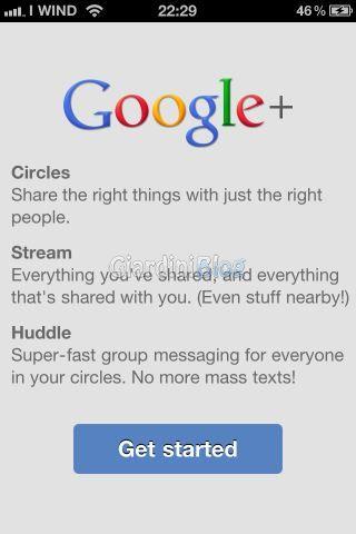Google plus primo avvio