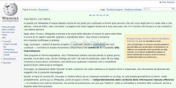 blocco in italia di wikipedia