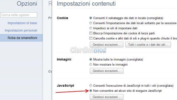 google chrome javascript non consentire ad alcun sito