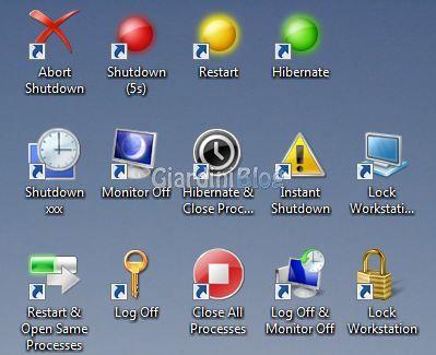 icone rapide spegnimento computer pc