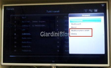 ordinare spostare eliminare canali tv samsung