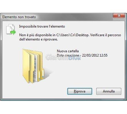 Come eliminare i file che danno errore impossibile trovare l'elemento