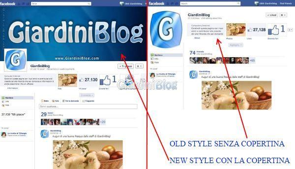 Ecco come vi apparirà la vostra pagina o profilo col New e con Old Style