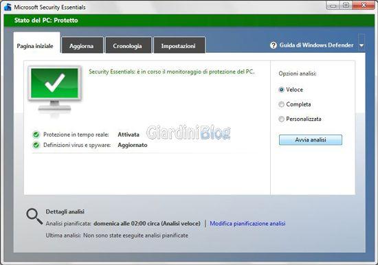 Microsoft Security Essentials 4 - schermata
