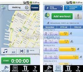 applicazione android CardioTrainer corsa ciclismo