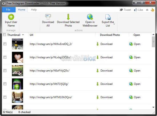 Free Instagram Downloader lista foto