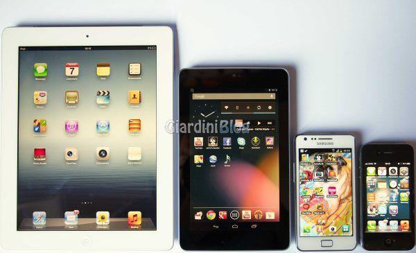 paragone dimensioni ipad 3 nexus 7 s 2 iphone 4s