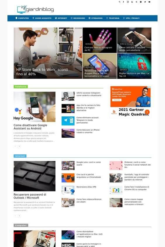 Giardiniblog Screenshot Pagina Esempio